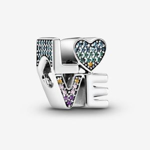 Authentic PANDORA Rainbow Pavé Love Charm